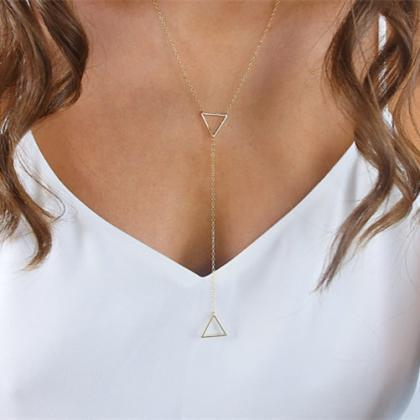 Hollow Out Metal Triangle Pendant N..