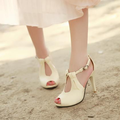 Sexy Ankle Strap Nude Peep Toe Sand..