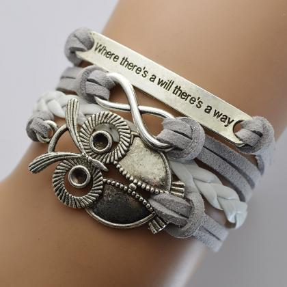 Grey Velvet Rope Weaving Owl Bracel..
