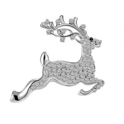 Christmas gift fawn diamond brooch