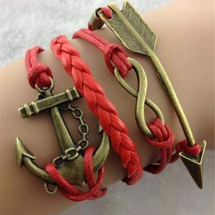 Arrow Anchor Red Rope Woven Bracele..