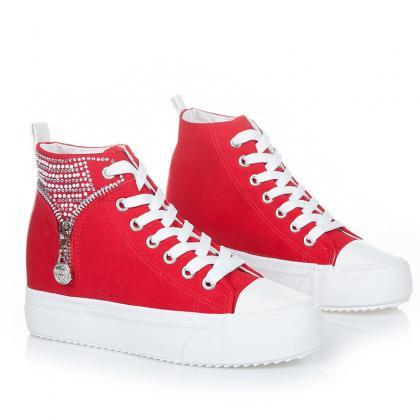 Crystal Zipper Decorate High Top Sn..