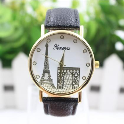 Building Design Print Leather Watch