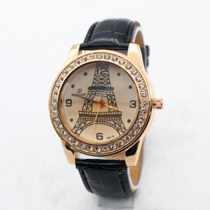 Classic Tower Print Crystal Watch