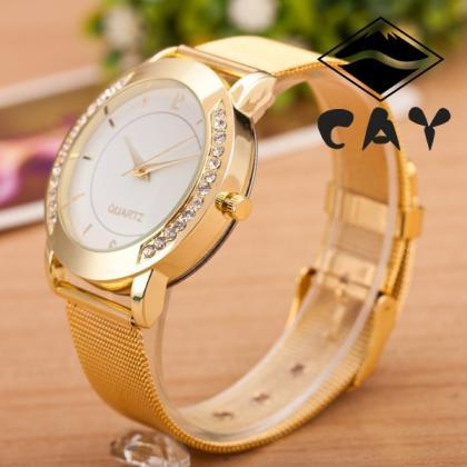 Golden Alloy Strap Personality Watc..