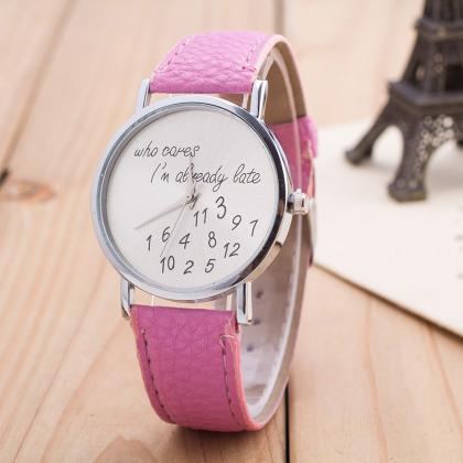 Letter Number Print Leather Watch