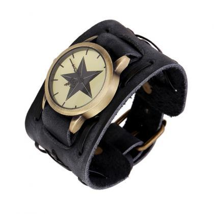 Punk Style Star Dial Leather Woven ..