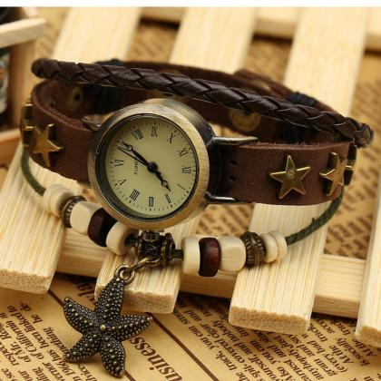 Retro Star Leather Woven Bracelet W..