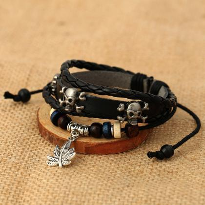 Personality Skull Leaf Leather Brac..