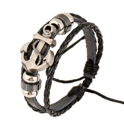 Fashion Beaded Anchor Leather Brace..