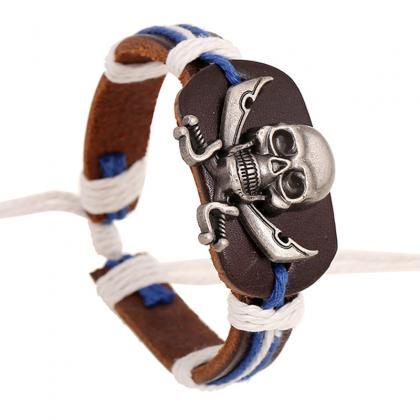 Original Skull Woven Leather Bracel..