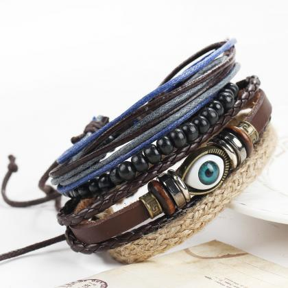 Retro Eyes Adjustable Woven Bracele..