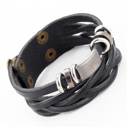Personality Braided Leather Bracele..