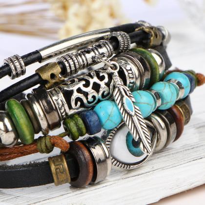 Blue Eyes Carve Beads Multilayer Br..