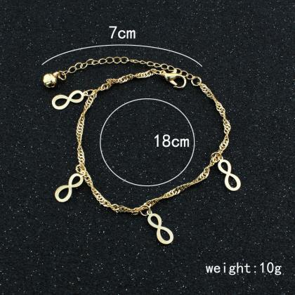Infinity Charms Chain Anklet in Gol..