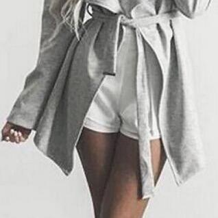 Fashion Gray Belt Lapel Long Coat