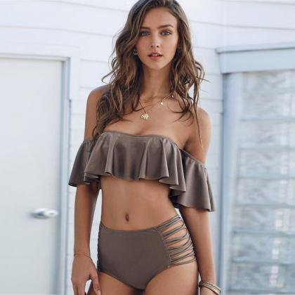 Off-The-Shoulder Frill Bikini Featu..