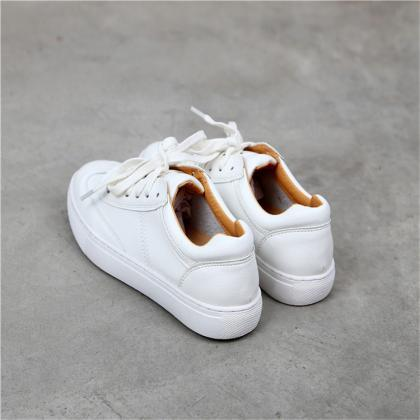 Lace-Up Faux Leather Sneakers