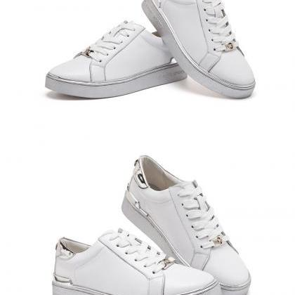 White Lace-Up Faux Leather Sneakers