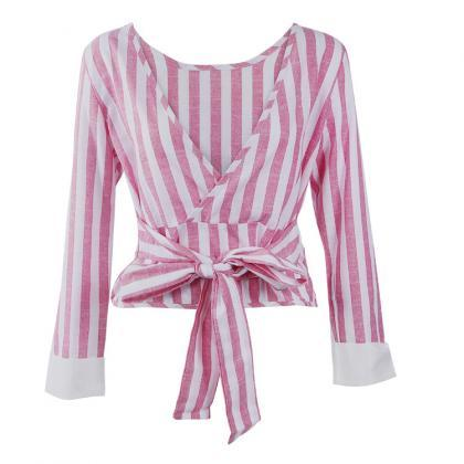 Striped Long Sleeved Blouse Featuri..