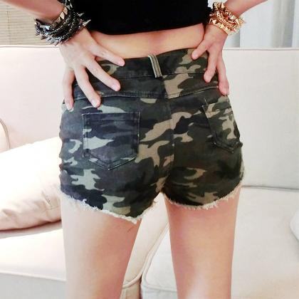 Fashion Camouflage Ripped Low Waist..