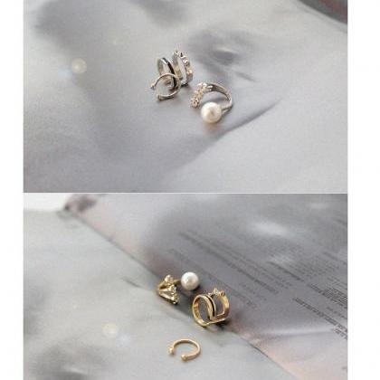 Lady's split rivet joint ring pearl..