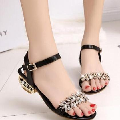 Peep-toe Roman Deformed Low With Pa..