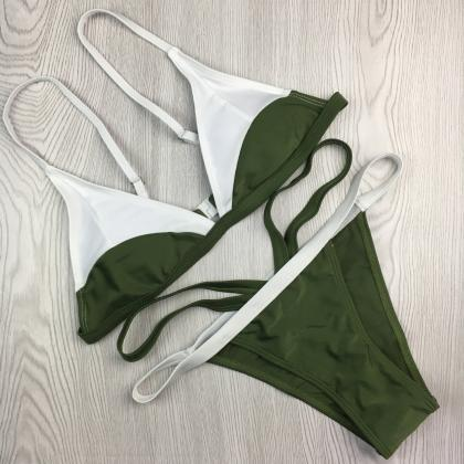 Sexy Color Matching Two Pieces Swim..
