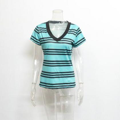 Fashion Set Head Stripe Short Sleev..