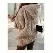Knitting Thickening Hooded Cardigan