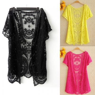 Hollow-Out Lace Embroidery Crochet Cardigan