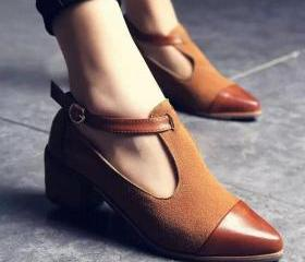 PU Chunky Heel Point..