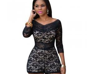 Lace V-neck Hollow O..