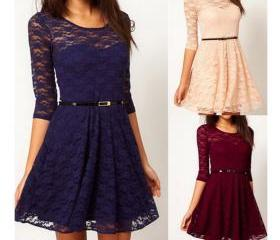 3/4 Sleeve Lace Dres..