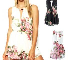 Floral Open Back Ove..