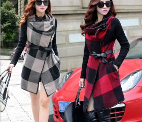 Wool Plaid Cloak Lon..