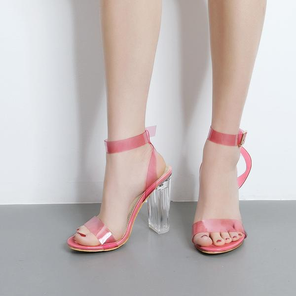 ec5db007132 Transparent Open-Toe Buckle Ankle Strap Chunky Heels