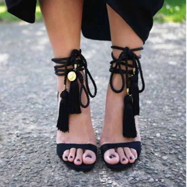 Faux Suede Open-Toe Lace-Up High Heel Stilettos Featuring Tassel Detailing