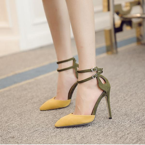 13362ccdee5 Faux Suede Colour Block Pointed Toe Double Ankle Straps High Heels ...