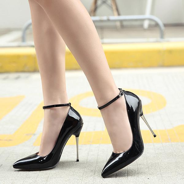 Patent Leather Pointed Toe High Heels with Ankle Straps