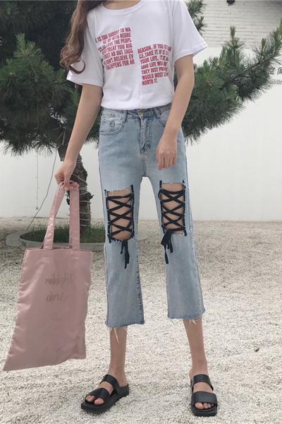 Unique Loose Straps Cross Solid Color 3/4 Length Jeans