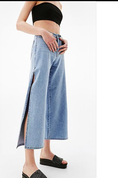 Solid Color Middle Waist Loose Wide-Legs Split 3/4 Jeans
