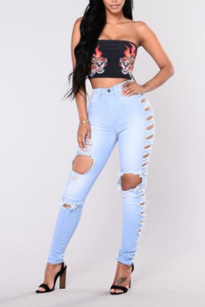 Solid Color High Waist Cut Out Holes Long Skinny Jeans