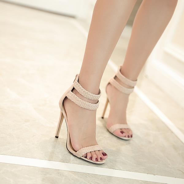 Weave Ankle Wrap Open Toe Stiletto High Heels Sandals