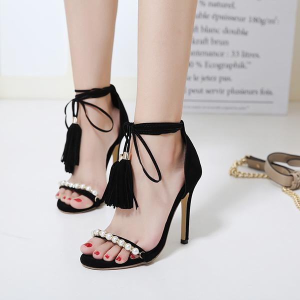 45af3450a8f Open-Toe Pearl Embellished Ankle Strap Stiletto Heels With Tassels ...