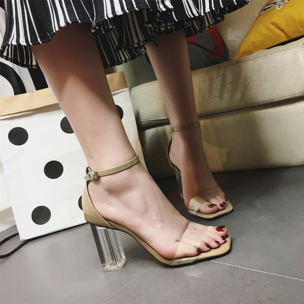 Square-Toe Ankle Strap Transparent Chunky Heels, High Heels