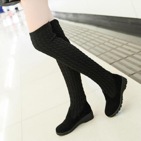 Faux Suede Rounded-Toe Knit Over-The-Knee Flat Boots