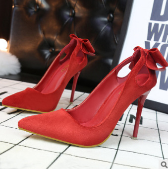 Back Bowknot Decorate Pointed Toe Low Cut Stiletto High Heels Party Shoes