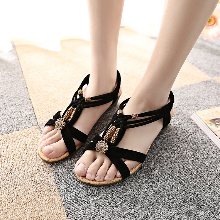 Retro Roman Style Open Toe Ankle Wrap Flat Sandals