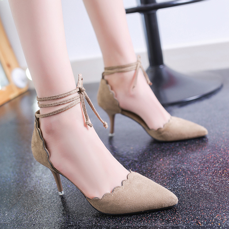 Faux Suede Pointed-Toe Lace-Up High Heel Stilettos